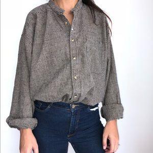 Vintage Baxter natural linen button front shirt XL